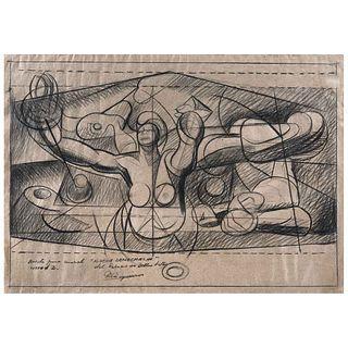 DAVID ALFARO SIQUEIROS,Boceto para mural Nueva democracia del Palacio de Bellas Artes,Firmado,Carboncillo/papel,44.5 x 63 cm,Constancia