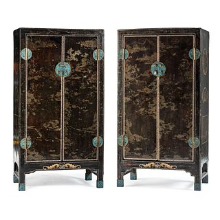 A Pair of Chinese Lacquered Wedding Cabinets