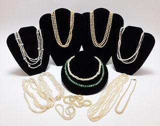 12PC Chinese Hardstone & Pearl Necklaces