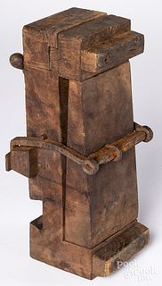 Primitive wood vice or press, 19th c.