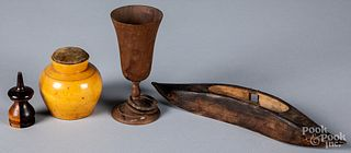 Four pieces of woodenware