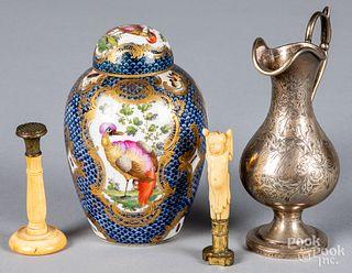 Worcester porcelain urn and cover, etc.