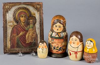 Eastern European painted copper icon, etc.