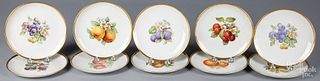 Ten Hutschenreuther porcelain fruit plates