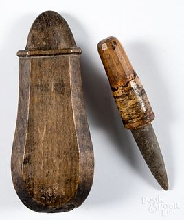 Stone sharpening point with wooden case