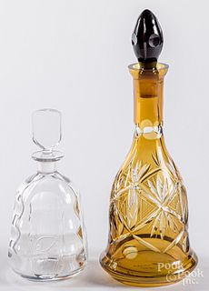 Orrefors glass decanter, together with another