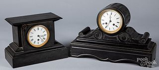 Two Victorian slate mantel clocks