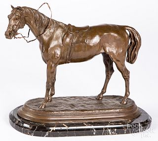Patinated bronze horse, after Moigniez