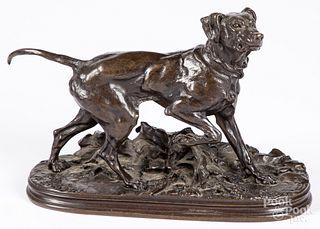 Patinated bronze dog, after P.J. Mene