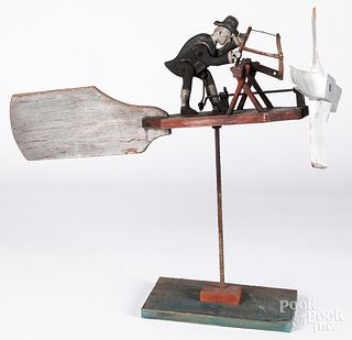 Carved and painted sawyer whirligig, early 20th c.
