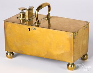English Richs patent brass honor tobacco box
