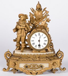 French gilt metal mantel clock