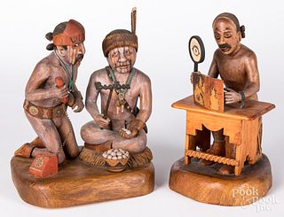 Two Hopi Indian carved and painted figures
