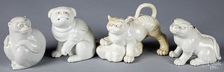 Four Japanese Hirado porcelain animals