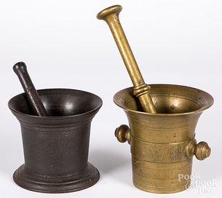 Two antique brass and iron mortar and pestles