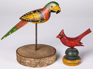 Carved and painted parrot and cardinal