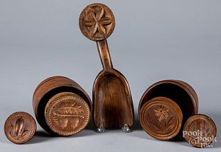 Five carved butterprints, 19th/20th c.