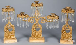 Three-piece brass girandole set, 19th c.