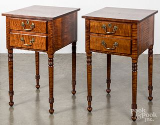 Pair of Gregg Perry tiger maple end tables