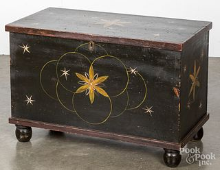 Diminutive painted pine blanket chest, 19th c.