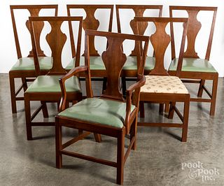 Set of seven Virginia cherry dining chairs.