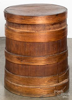 Large staved pine barrel, 19th c.