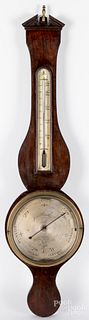 English mahogany banjo barometer, 19th c.