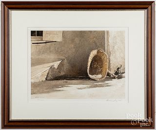 Andrew Wyeth signed collotype, Monday Morning