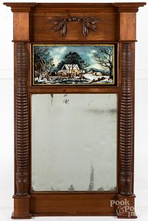Sheraton walnut mirror, ca. 1830