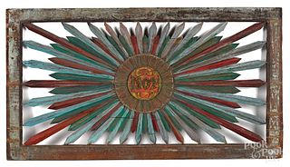 Painted pine transom frame, dated 1802