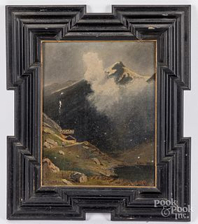 Continental oil on canvas mountain landscape