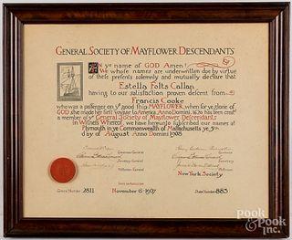 General Society Mayflower Descendants certificate