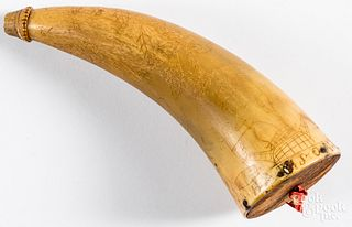 Scrimshaw decorated powder horn 19th c.