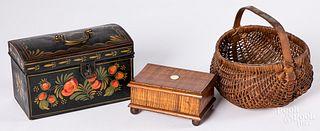 Toleware dome lid box, 19th c.