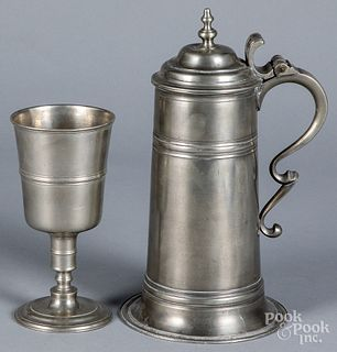 Pewter flagon and chalice, 18th/19th c.