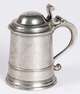 English pewter tankard, 18th c.