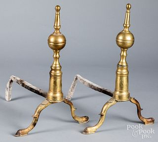 Pair of Federal brass andirons, ca. 1810