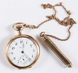 Hamilton 14K gold pocket watch and chain