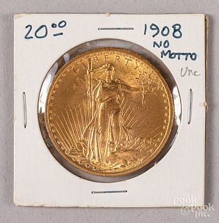 1908 St. Gaudens twenty dollar gold coin