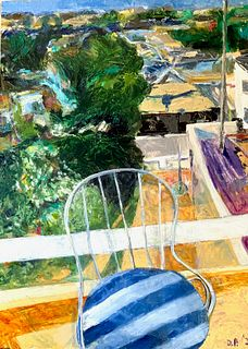DAVID POST, Balcony with Striped Chair