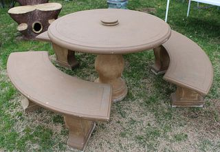 Vintage Stained Portland Table And Benches.