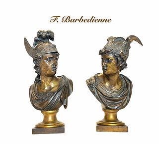 Pair of Gilt & Patina-ted Bronze Bust of Hermes, 19th C