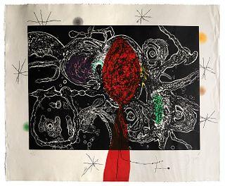"""JOAN MIRÓ I FERRÀ (Barcelona, 1893 - Palma de Mallorca, 1983).  """"Espriu-Miró"""", 1975.  Etching, aquatint and carborundum, 46/50.  Signed and justified"""
