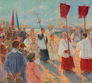 "ARCADI MAS I FONDEVILA (Barcelona, 1852 - Sitges, Barcelona, 1934).  ""Procession from the hermitage of Sant Sebastià, Sitges"".  Oil on canvas.  Signed"