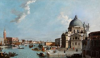 "WILLIAM JAMES (London doc. 1746-1771), attributed.  ""The Grand Canal of Venice, with a procession entering Santa Maria della Salute"", 18th century.  O"