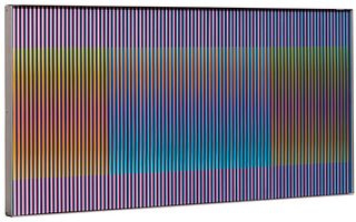 """CARLOS CRUZ DIEZ (Caracas, 1923 - Paris, 2019).  """"Physichromie, No. 1040"""", 1975.  Acrylic and plastic elements on aluminum.  Signed, dated and located"""