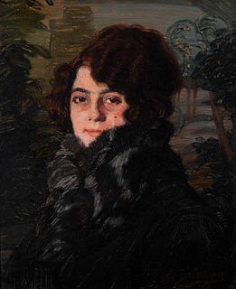 "IGNACIO ZULOAGA Y ZABALETA (Éibar, Guipúzcoa, 1870 - Madrid, 1945).  ""Female portrait"".  Oil on panel.  Signed in the lower right corner."