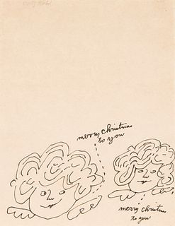"""ANDY WARHOL (Pittsburgh, USA, 1928 – New York, USA, 1987).  """"Two Christmas Fairies"""", ca. 1954.  Ink on paper.  Signed in the upper left corner.  Prese"""