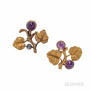 Two Mario Buccellati 18kt Gold Gem-set Brooches