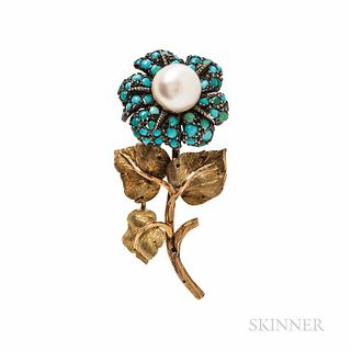 Mario Buccellati Cultured Pearl and Turquoise Flower Brooch